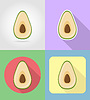 Vector clipart: avocado fruits flat set icons with shadow