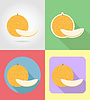 melon fruits flat set icons with shadow