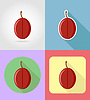 Vector clipart: plum fruits flat set icons with shadow