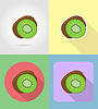 Vector clipart: kiwi fruits flat set icons with shadow