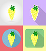 Vector clipart: grapes fruits flat set icons with shadow