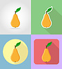 pear fruits flat set icons with shadow