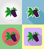 Vector clipart: currant fruits flat set icons with shadow