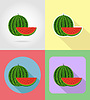 Vector clipart: watermelon fruits flat set icons with shadow