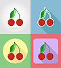 Vector clipart: cherry fruits flat set icons with shadow