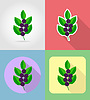 Vector clipart: blueberries fruits flat set icons with shadow