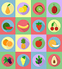 Vector clipart: fruits flat set icons with shadow
