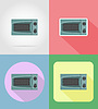 Vector clipart: microwave household appliances for kitchen flat