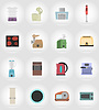 household appliances for kitchen flat icons