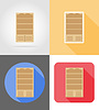 Vector clipart: bookcase furniture set flat icons