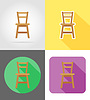 Vector clipart: chair furniture set flat icons