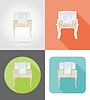 vanity table old retro furniture set flat icons