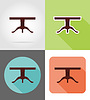 Vector clipart: table furniture set flat icons