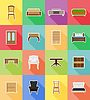 furniture set flat icons