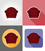Vector clipart: armchair furniture set flat icons