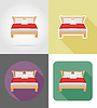 Vector clipart: bed furniture set flat icons