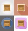 Vector clipart: nightstand furniture set flat icons