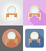 Vector clipart: vanity table furniture set flat icons