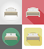 bed furniture set flat icons