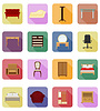 Vector clipart: furniture set flat icons