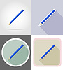 pencil stationery equipment set flat icons