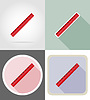 ruler stationery equipment set flat icons