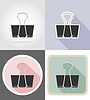 clip stationery equipment set flat icons