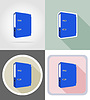 folder stationery equipment set flat icons