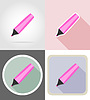 marker stationery equipment set flat icons