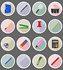 Vector clipart: stationery equipment set flat icons