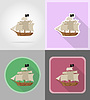 Vector clipart: pirate ship flat icons