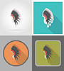 mohawk hat wild west flat icons