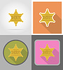 star sheriff wild west flat icons