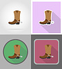 cowboy boots wild west flat icons