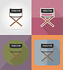 Vector clipart: director movie chair flat icons