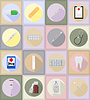 Medical objects and equipment flat icons   Stock Vector Graphics