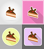 piece of chocolate cake with cherries flat icons