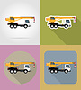 Vector clipart: truck crane for construction flat icons
