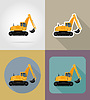 Vector clipart: excavator for road works flat icons