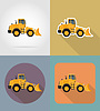 bulldozer for road works flat icons