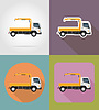 Vector clipart: truck with small crane for construction flat icons