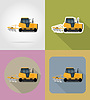 Vector clipart: caterpillar tractor flat icons