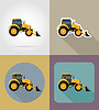 Vector clipart: tractor flat icons