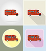 car van caravan camper mobile home flat icons