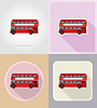Old retro bus flat icons   Stock Vector Graphics