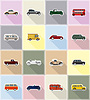 old retro transport flat icons