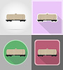 Railway carriage train flat icons | Stock Vector Graphics
