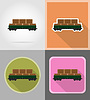Vector clipart: railway carriage train flat icons