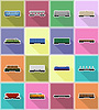 Vector clipart: set icons railway carriage train flat icons
