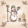 Векторный клипарт: новогодняя открытка со снеговиком